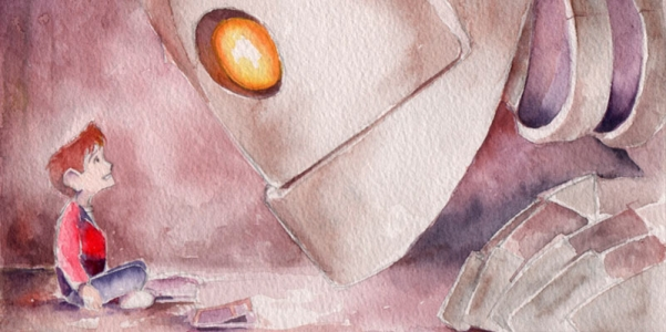 """The Lesson"" Iron Giant Watercolour"
